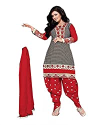 Divisha Fashions Black, White and Red Embroidered Dress Material with dupatta