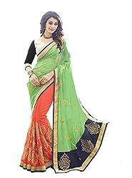 Shubhkari Fashion Green Georgette Saree With Velvet Blouse(SF_NAVRATRI_SPECIAL__1016)