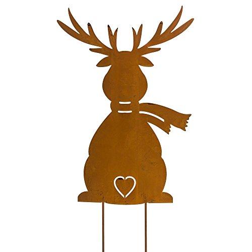 Weihnachtsdeko gartenstecker elch metall rost h he ca 38 cm for Gartendeko winter
