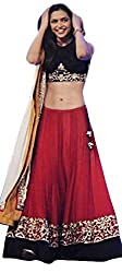FabTexo black blouse embroidred red lehenga for woman (Semi-Stitched)