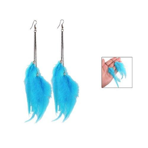 Gleader Une paire de Boucle d'oreille de pendentif de plume bleue pour les femmes