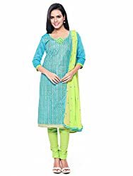 Kanchnar Women's Blue and Green Glace Cotton Embroidered Casual Wear Dress Material,Navratri Festival Clothing Diwali Gift,Great Indian Sale