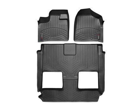2011-2015 Chrysler & WeatherTech Town Country-Set completo, per pavimenti, con prima e seconda fila, per modelli con 1 gancio retentino sul lato del conducente pavimento, per veicoli con 2 file con secchio Seating. Stow 'n Go by WeatherTech, colore: nero