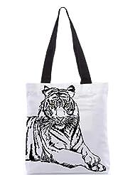 Snoogg Sketch Of White Tiger Vector Illustration Designer Poly Canvas Tote Bag - B012FZESIM