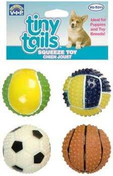Vinyl Tiny Tails Dog Toy Mini Spiked Sport Balls 4pk