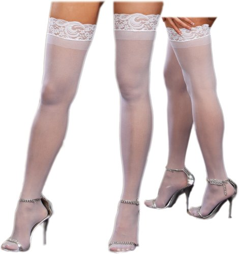 Discount Plus Size Sexy Sheer White Lace Top Thigh High Stockings