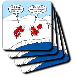 Lobster Bad Vacation Spots - Set Of 4 Ceramic Tile Coasters