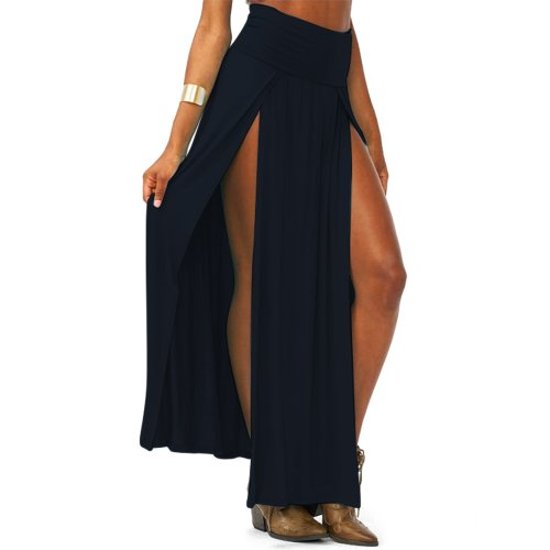 Amoin Women'S Trends High Waisted Double Slits Maxi Skirt Black