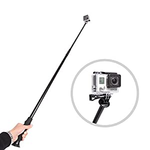 "Movo Photo PH300 Telescoping Camera Pole 34"" to 100"" (8 feet!) Extension/Boom/Selfie Stick for Digital Cameras (1/4"" Thread) with Bonus Adapters for GoPro HERO, HERO2, HERO3, HERO4"