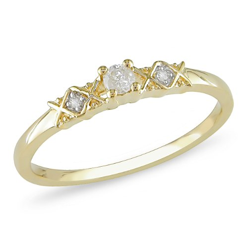 1/10 ct.t.w. Diamond Ring in 10k Yellow Gold, I2-I3, G-H-I