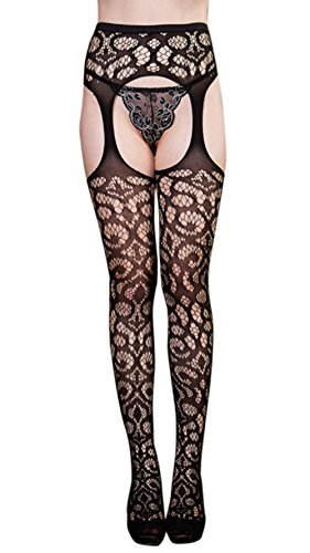 FENTI Floral Lace Garters with Attached Fishnets Stocking Pantyhose (Plus Size Fishnet Stocking With Lace Top)
