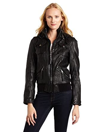 MICHAEL Michael Kors Women's Hooded Leather Jacket, Black, Medium