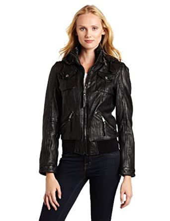 MICHAEL Michael Kors Women's Hooded Leather Jacket, Black, X-Small