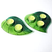 Luxury Glass Green Leaves Tea Light Holder Set