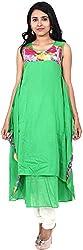 Touch Patiala Women's Cotton Regular Fit Kurta (Green, Large)