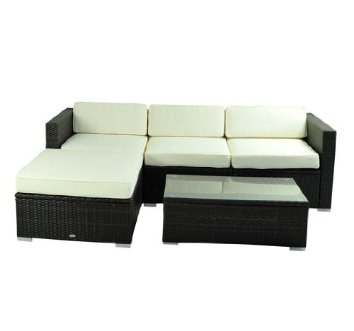 Outsunny deluxe outdoor patio pe rattan wicker 5 pc sofa for Chaise lounge couch set