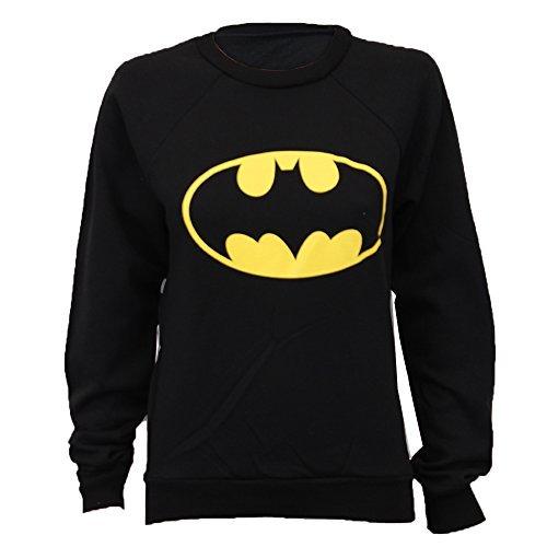 cd21db3af6412 Pull Sweatshirt Femme Imprimé Logo Batman Superman Tendance Neuf – Noir –  Batman