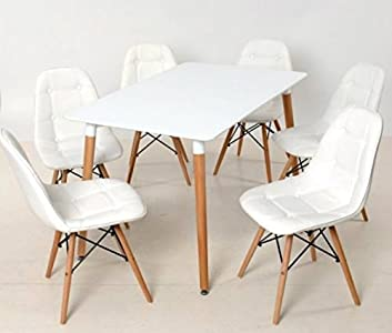 Cheap  Amazing Set#retro Designer Rectangle Wood  Dining Table and 4 Retro  Pu Eames Inspired Eiffel Dsw Chairs#free Delivery