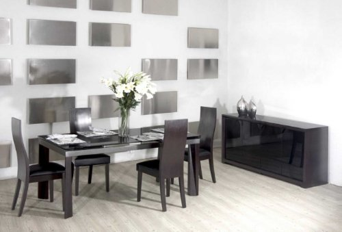 Vig Furniture Star 7 Piece Dining Set Black Tinted Glass Top Extend-Able Dining Table & 6 Oak Side Chairs