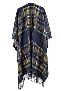 Hogarth Navy Check Tartan Cashmere Serape Blanket Wrap