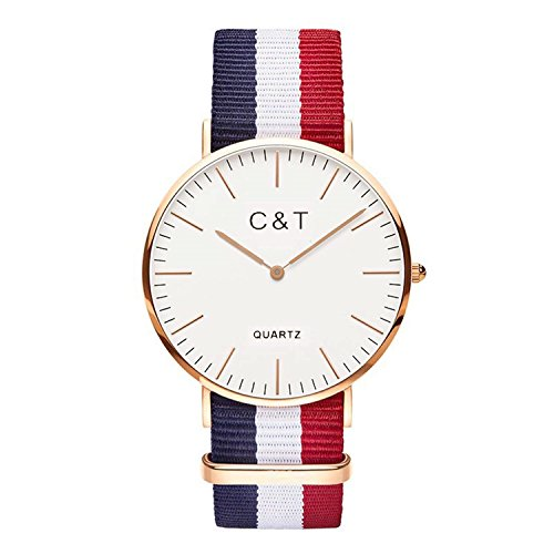 C + T Watch C3T Orologio con cinturino in Nylon Nato rosso, bianco e blu marine, cassa dorata