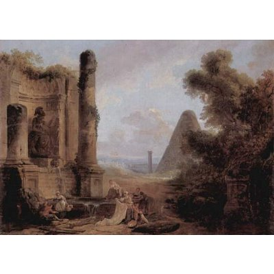 Hubert Robert (Cestius fantasy view of the pyramid on a temple ruins) Art Poster Print - 11x17