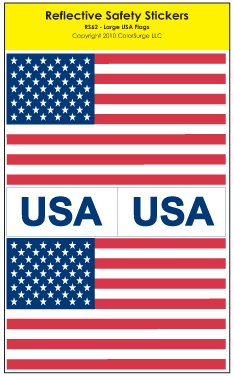 USA Flag Reflective Safety Sticker, Large