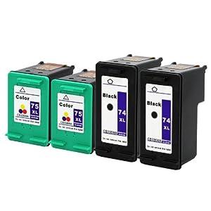 eStoreimport © Remanufactured Ink Cartridge Replacement For 4 Hp 74XL 75XL Ink Photosmart C5540 C5550 C5580 Printer