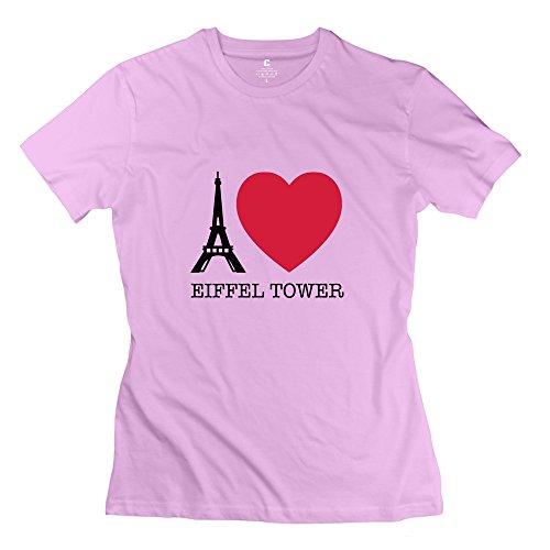 Hd-Print Women'S T-Shirt Eiffel Paris Love Tower Xl Pink