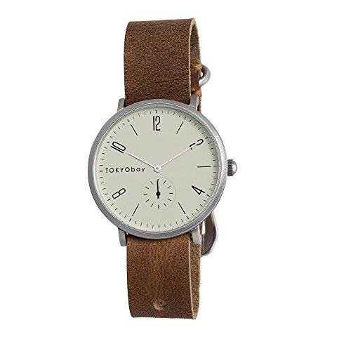 tokyobay-t338-br-da-uomo-in-acciaio-inox-in-pelle-marrone-quadrante-bianco-smart-watch