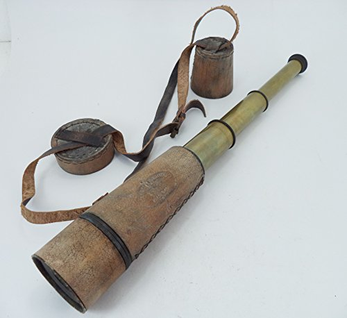 """18"""" Wood Color Leather Encased Brass Spy Glass Telescope With Leather Cap And Neck Belt , Nautical Telescope , Vintage Telescope , Antique Telescope , Telescope"""