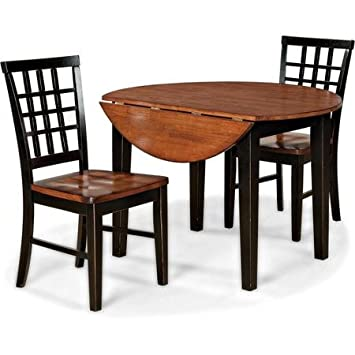 Iverson Solid Wood 3 Piece Dining Set with Two 8 Inch Drop Down Leaves (Black and Java)