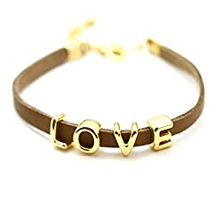 Aaishwarya Love Word Brown Leather Wrap Bracelet For Men & Women