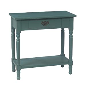 Elsa hand painted teal solid mahogany console table for Teal kitchen table