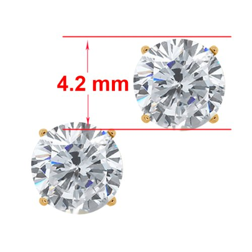 0.60 Ct Round G/H SI2 Diamond 14K Yellow Gold Stud Earrings
