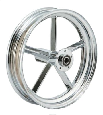 "Chrome Invader 5-Spoke 16"" x 3.00"" Front Wheels Single Flange For Harley Models With Wide Front Ends & 3/4"" Axle"