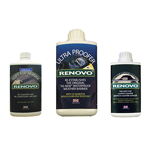 Triple-Renovo-REN-KIT4-kit-di-pulizia-contiene-reviver-superiore-morbido-dolce-ultra-Proofer-soft-top-cleaner-blu-tela