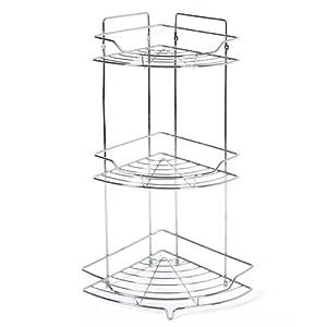 eckregal aus verchromtem metall mit 3 regalb den k che haushalt. Black Bedroom Furniture Sets. Home Design Ideas