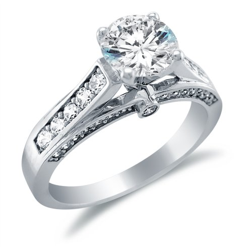 Size 5 - Solid 14k White Gold Round Brilliant Cut Solitaire with Round Side Stones Highest Quality CZ Cubic Zirconia Engagement Ring 1.5ct.