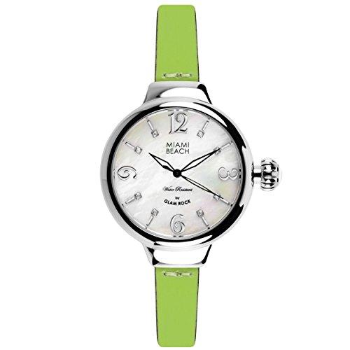 Glam Rock MBD27199A - Reloj para mujeres, correa de cuero color verde