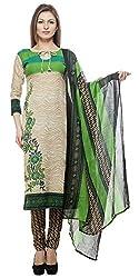 Divyaemporio Women'S Faux Cotton Green And Beige Salwar Suits Dress Material