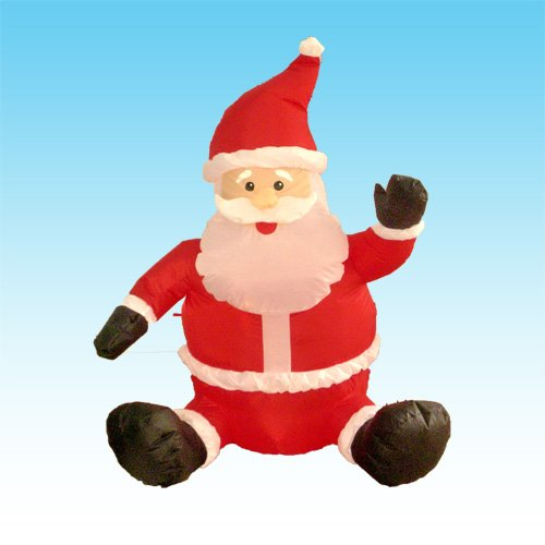 4 Foot Christmas Inflatable Sitting & Waving Santa Claus - Yard Art Decoration