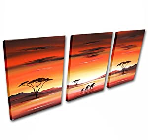 African Landscape Original Canvas Large 4ft - 3 Set Painting Wall Art - By SCA ART