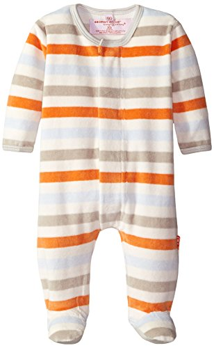 Magnificent Baby Baby-Boys Origami Stripe Velour Footie with Applique