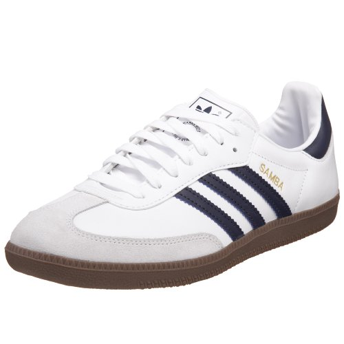 adidas Originals Men's Samba Sneaker,White/New Navy/Gum,8 M