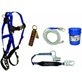 FallTech 8595RA Roofers Kit - 7016 Harness, 8150 Vertical Lifeline, 8368 SAL with Trailing Grab, 7410 Roof Anchor, with Bag 5007LP, Blue