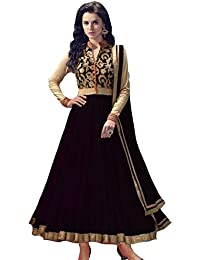 Shiroya Brothers Women's Net Anarkali Salwar Suit Unstitched Regular Wear Dress Material(SB_DM_BLACK_1071)