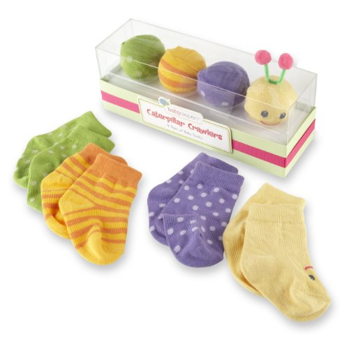 "Baby Aspen Baby  ""Caterpillar Crawlers"" Baby Socks Gift Set, Multi, 0-6 months"