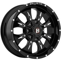 Ballistic 951 Dagger 20×9.0 Gloss Black & Milled Wheel 6x135mm 6×139.7mm (6×5.5) Bolt Pattern / +12mm Offset / 100.4mm Hub Bore