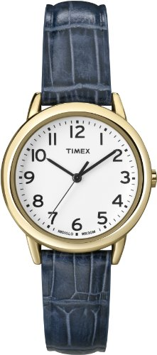 Timex Women's T2N954 Elevated Classics Dress Gold-Tone Case Blue Croco Leather Strap Watch